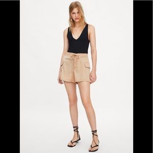 NWOT Zara Tan Satin Cargo Shorts